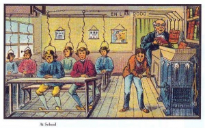 Drawn image of students with books being fed into a machine and given to students