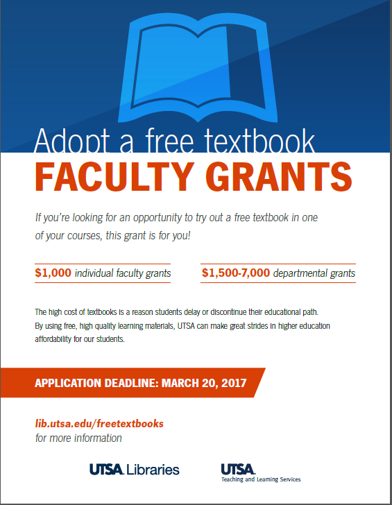 UTSA Libraries - Adopt a Free Textbook Flyer