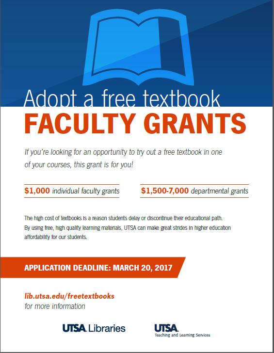 UTSA Libraries - Adopt a Free Textbook Flyer
