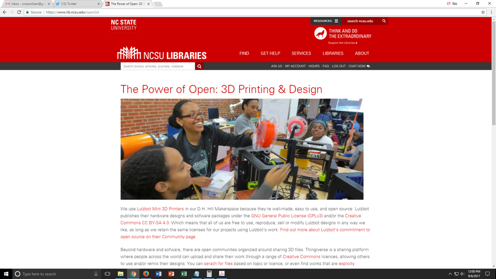 Power of Open page from the NCSU Makerlab website