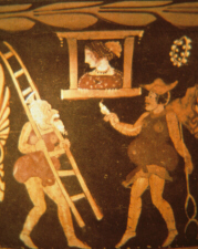 Vase depicting a scene from an Italian comic production (click to see larger image)