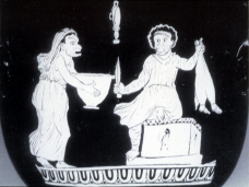 Vase depicting a scene from a comedy, possibly an Italian production of Aristophanes' Thesmophoriazusae (click to see larger image)