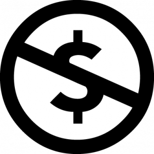 A dollar sign with a line crossing it horizontally. This represents the Noncommercial CC license.
