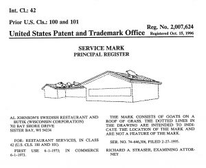 Trademark application for goats on a restaurant roof
