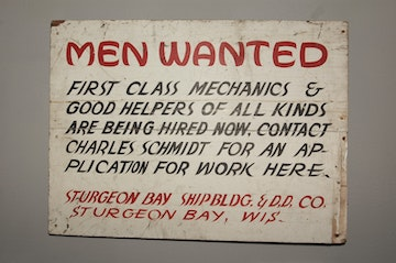 """Image showing """"Men Wanted"""" for a job"""