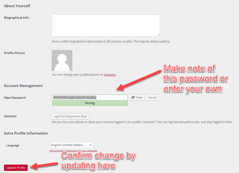 Use generated password or add your own