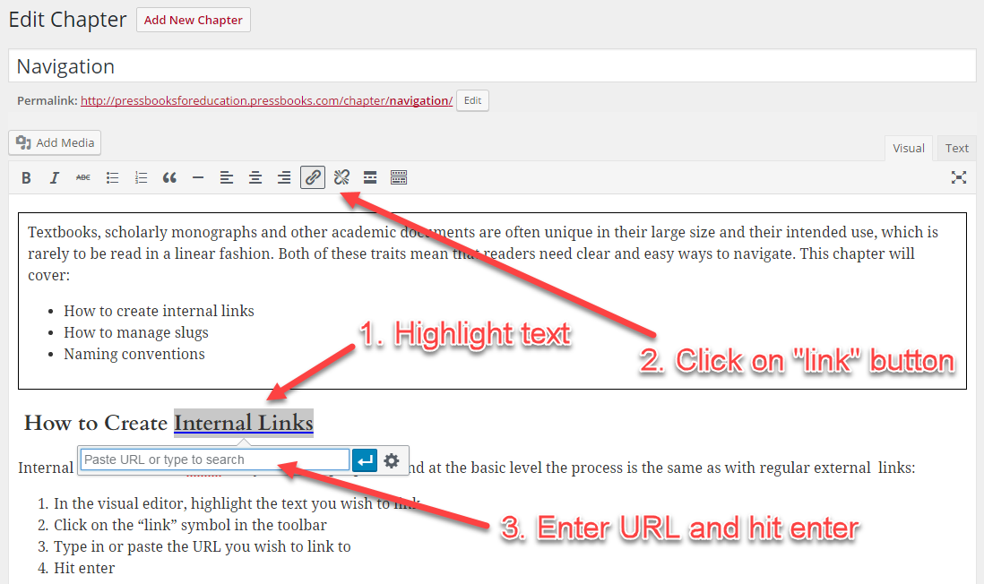 Highlight text and create a link
