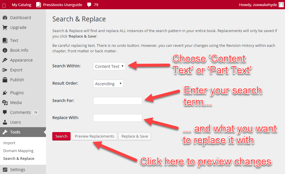 Enter your search terms and preview