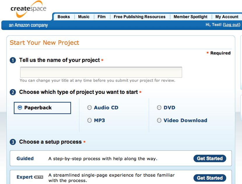 Choose the Guided Setup option in CreateSpace.