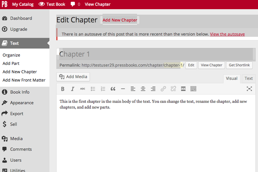 Add Media button in Chapter Edit Mode
