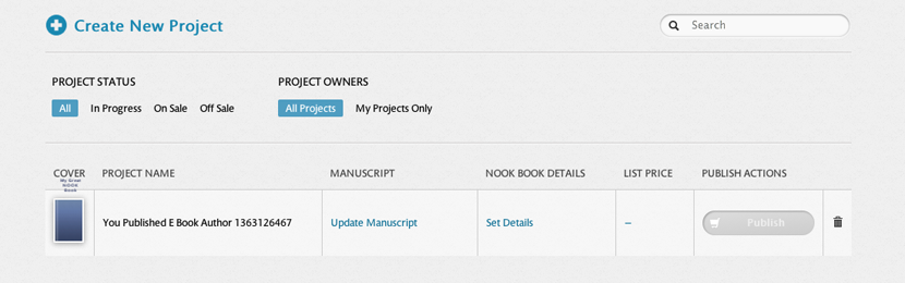 Nook publishing dashboard