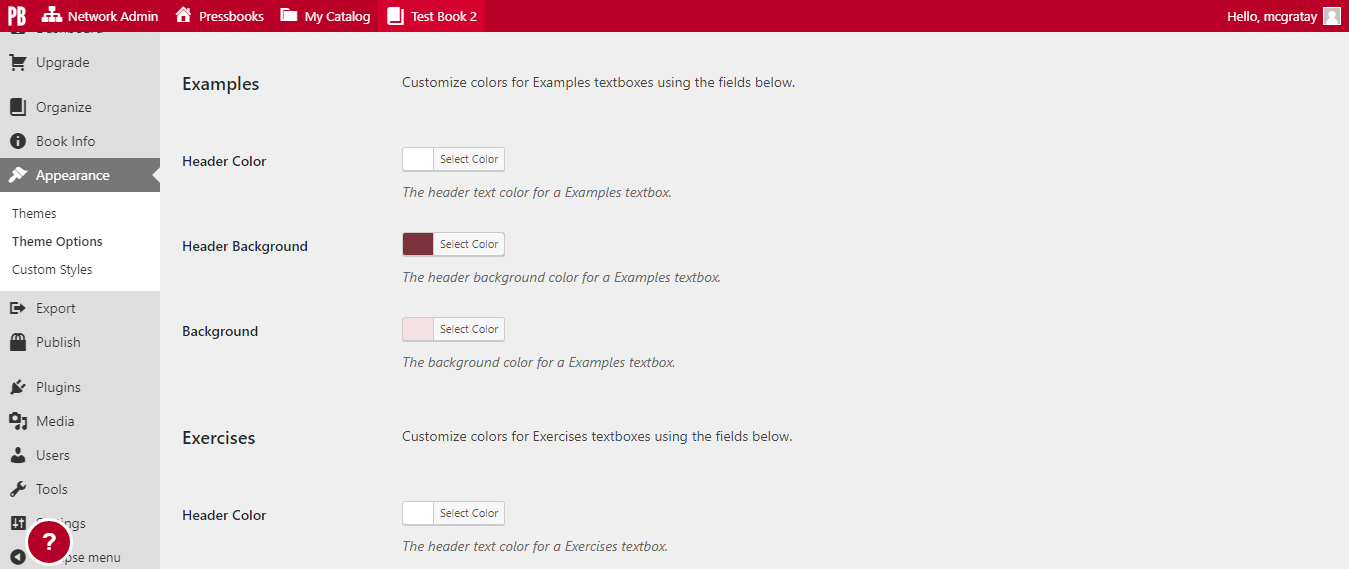 You can select colors for the header color, header background, and background for each of these four textbox types.